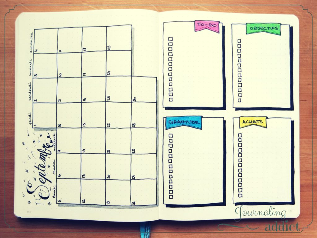 page mensuelle bullet journal